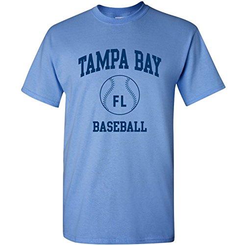 (Tampa Bay Classic Baseball Arch Basic Cotton T-Shirt - 2X-Large - Carolina Blue)