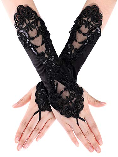 SATINIOR Ladies Lace Gloves Elegant Short Gloves Courtesy Summer Gloves for Wedding Dinner Parties (Black 7) -