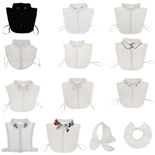 de Faux Coton Noir Chemises Blanc Ornements Amovible Gazechimp Demi Blouse Col Col Femme 5 S8Eq45w