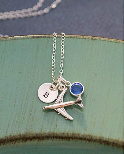 Airplane Charm Necklace - ROI - Pilot Attendant Traveler Wanderlust Pendant - 3/8 Inch Disc - Handstamped Sterling Silver Jewelry - Personalized Initial ()