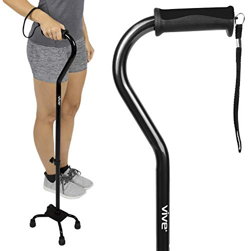 Vive Quad Cane - Walking Stick for Men and Women - Lightweight Adjustable Staff - Comfortable Right and Left Hand Grip for Stability Support - Four Prong Sturdy Aluminum Travel ()