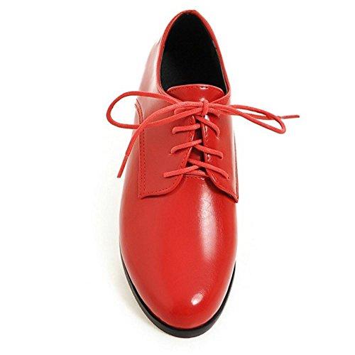 Extra Rojo Cordones Zapatos 13 Bombas Zanpa Oxford Sizes Mujer Plano 0 Casual x1XwX0P