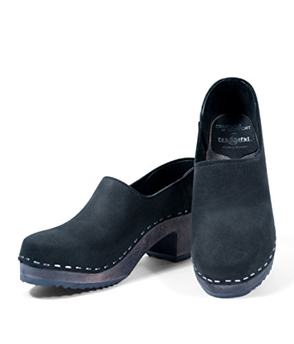 Sandgrens Swedish High Heel Wooden Clogs For Women | Black Bridget, Size US 6 EU 36