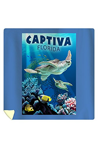 Lantern Press Captiva, Florida - Sea Turtle Swimming 45301 (88x88 Queen Microfiber Duvet Cover)