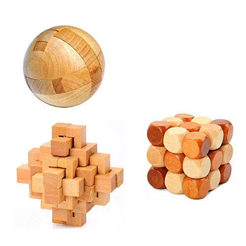 Wooden Ball Puzzle - 3PCS Oruuum Puzzle Brain Teaser Disentanglement, Puzzles Magic Balls, Snake Cube Wooden Brain Teaser Puzzle And 24 Unlock Interlocking Brain Teaser Puzzle ——Toy Game Logic Burr Puzzles.