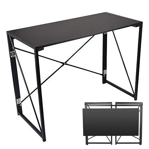 Folding Computer Desk, 39'' No Assembly Foldable Table Compact Steel Frame Wood Table Simple Modern Style Writing Study Desk Rectangular PC Laptop Workstation for Home & Office | (Desk Assembly)