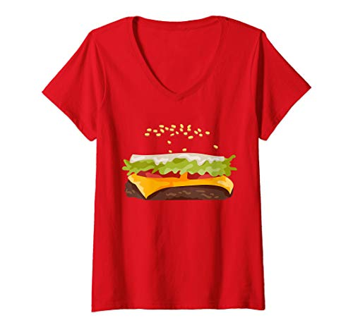 Womens Hamburger Halloween Costume V-Neck T-Shirt]()