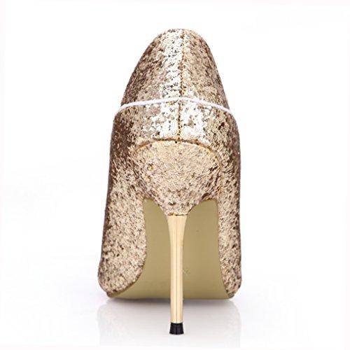 Dolphingirl Glitter Oro Peep Toe Scarpe Col Tacco Alto Sandalo Scarpe Prime Doro