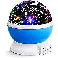 Star Master Gece Lambası Usb ve Pilli Büyük Boy Dönen Gökyüzü Ay ve Yıldız Yansıtma Projeksiyon (mavi)