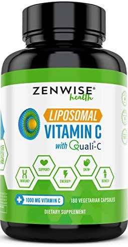 Liposomal Vitamin C with 1000mg Quali-C - Extra Strength VIT-C Ascorbic Acid for Daily Antioxidant Immune Health - Powerful Energy Boost & Skin Care Support - 3 Month Supply - 180 Vegetarian Capsules