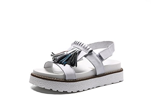 DANDANJIE Sandalias de Las Mujeres del Verano Retro Borla Punta Abierta Tacones Planos Zapatos de Cuero Sandalias de los Deportes al Aire Libre Zapatos caseros Blanco