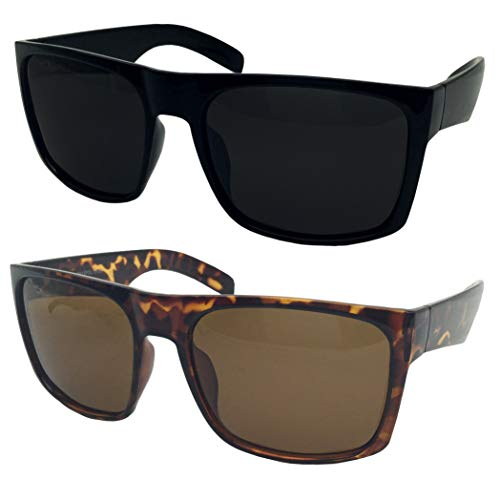 - 2 Pack XL Polarized Men's Big Wide Frame Sunglasses - Large Head Fit (1 Black, 1 Tortoise)