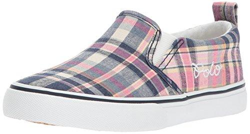 Polo Ralph Lauren Kids Girls' Ceecee Sneaker, Pink Madras Plaid, 4.5 Medium US Big (Ralph Lauren Polo Girls Madras)