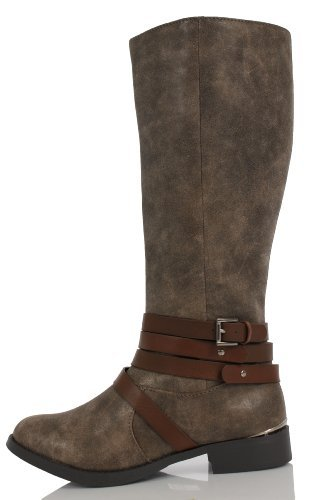Metallic Trim Boot - Taupe Faux Leather Multi Strap Metallic Trim Knee High Riding Flat Boots Adris 8 (7 M US Women)