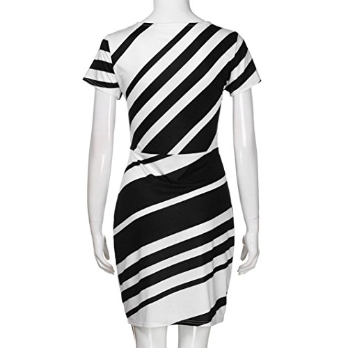 Pour Courtes Femmes Femmes Rayures Mince Manches Robe De Ol Robe Travail Style Noir Fashionista Ansenesna dvqSHYwY