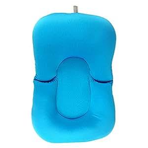 Almohada para bañera de bebé, plegable, antideslizante, diseño de rana, cojín de aire flotante, almohadilla para bañera de bebé, cojín de baño suave para bañera y bañera azul azul