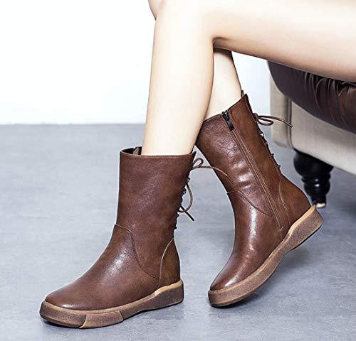 Ferse DANDANJIE Flache Stil Stiefel Womens Boots Herbst Im Martin Britischen Retro nnFqPX