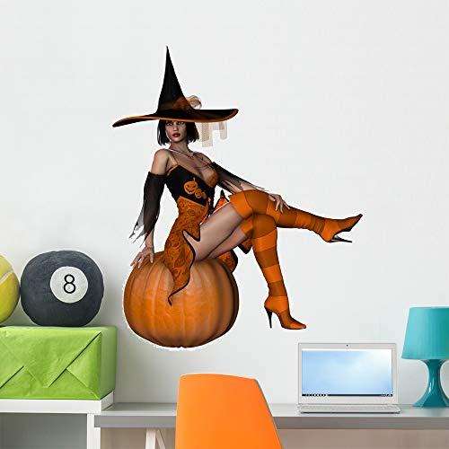 Wallmonkeys Witch with Pumpkin Wall Decal Peel and Stick Graphic (36 in H x 36 in W) WM239872