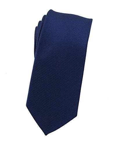 (Levao Solid Color Skinny Ties - Multiple Colors Formal Neckties Navy Blue 6cm)