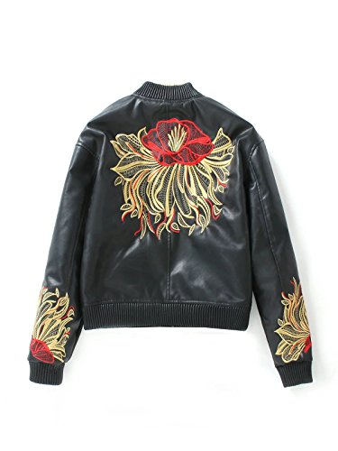 Ecollection® Damen Bomberjacke Bikerjacke Mantel Vintage Bomber Jacket  Embroidery Classic Zip up PU Leather Biker ...
