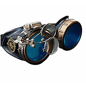 Enjoy Your Steampunk Victorian Style Goggles with Compass Design, Azure Blue Lenses & Ocular Loupe