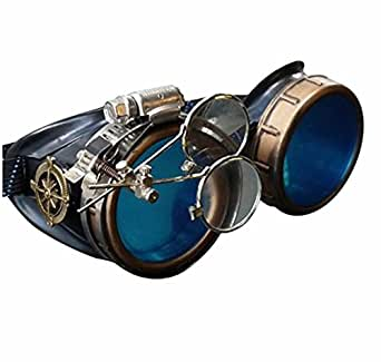 Steampunk Victorian Style Goggles with Compass Design