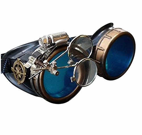 Enjoy Your Steampunk Victorian Style Goggles with Compass Design, Azure Blue Lenses & Ocular Loupe 3