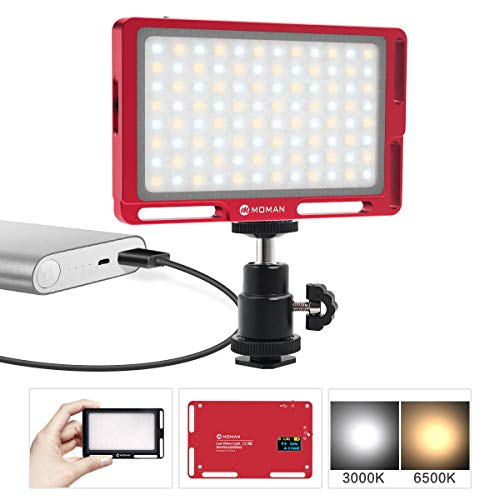 Moman LED Video Light for DSLR Camera Portrait, CRI 96 Bi-Color 3000K-6500K Brightness Dimmable, with OLED Display, Aluminum