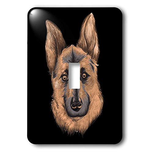 3dRose Sven Herkenrath - Animal - Portrait of a Gorgeous German Shepherd Dog on Black Background - Light Switch Covers - single toggle switch (lsp_290744_1) by 3dRose