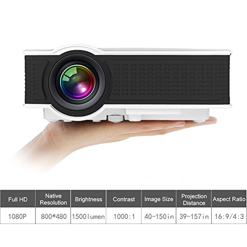 1500 Lumens Mini HD Video Projector 1080p, WEILIANTE Portable LED Home Theater Projector Support Movies iPhone Android iPad Tablet Connection Via HDMI AV VGA USB SD (White)