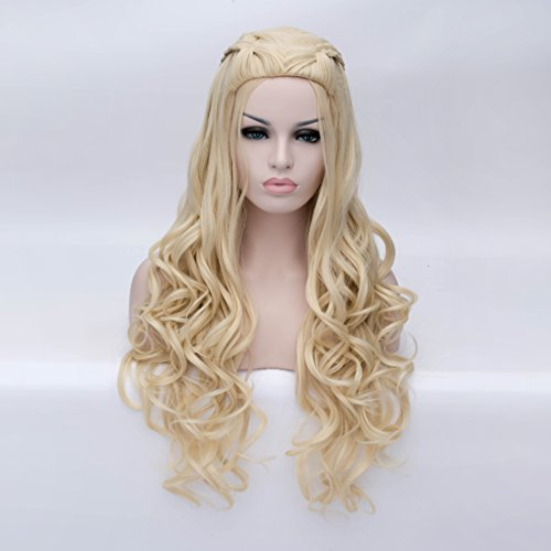 Aosler Game of Thrones Daenerys Targaryen Cosplay Wig Braided Blonde Long Curly Synthetic Hair (Braided Costumes Wig)