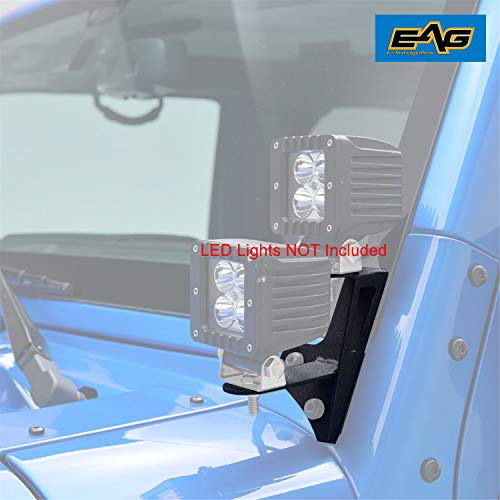 - EAG Dual Work Light Bar A-pillar Mounting Brackets Fit for Jeep Wrangler JK 2DR 4DR 07-17 (2Pcs)