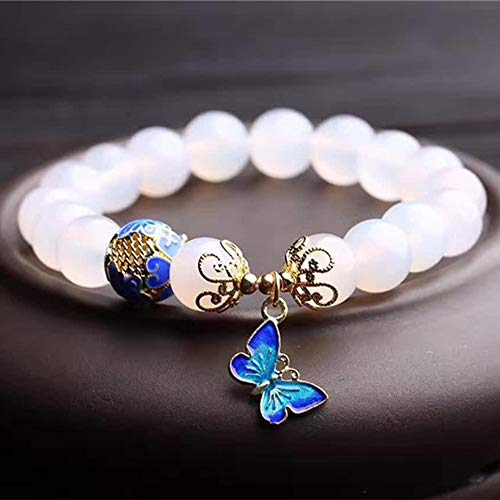 AlonSwallow Crystal White Agate Single Circle Bracelet Fashion Ladies Hand Jewelry Gem Beads to Send Mother to Send Girlfriends Positive Energy Beads