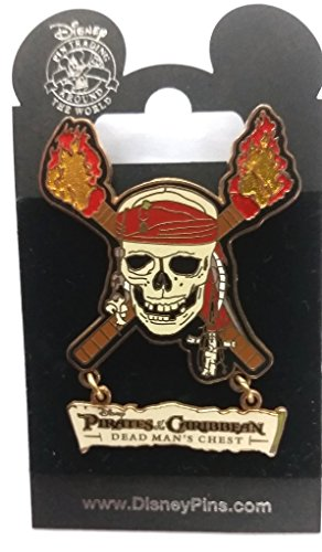 Disney Pirates of the Caribbean At World's End Pin Skull & Cross Torches with moving title below