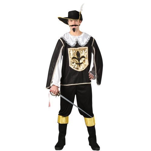Mens Black Royal Musketeer Guard Halloween Historical Fancy Dress Party Costume (Musketeers Fancy Dress)