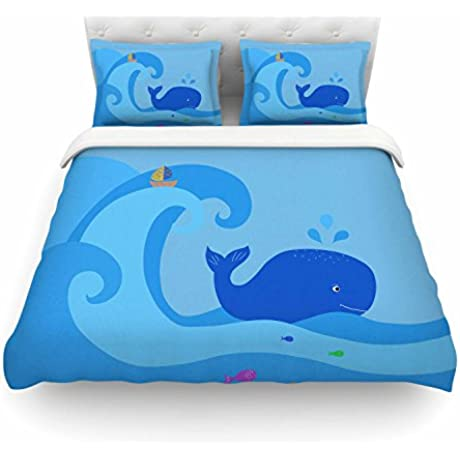KESS InHouse CB2028ACD03 Duvet Cover Cristina Bianco Design Blue Whale Blue Yellow King Featherweight Duvet Cover 104 X 88