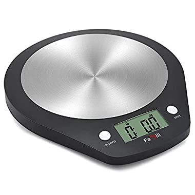 Famili Electronic Digital Food Measuring Scale with Stainless Steel Platform, 11lb/5kg, Black