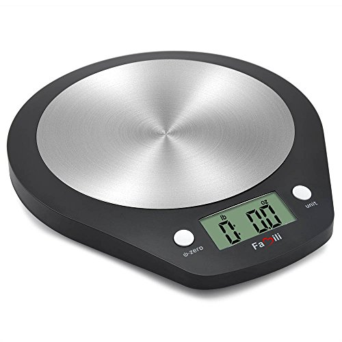Famili Digital Kitchen Scale Precise Multifunction Electronic Food Scale with Stainless Steel Platform,11lbs/5kg(Battery Included),Black ()