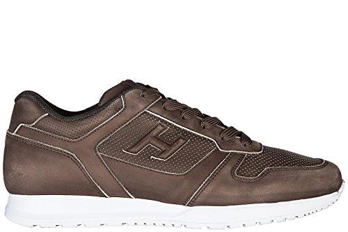Hogan Scarpe Sneakers Uomo in Pelle Nuove h321 Marrone