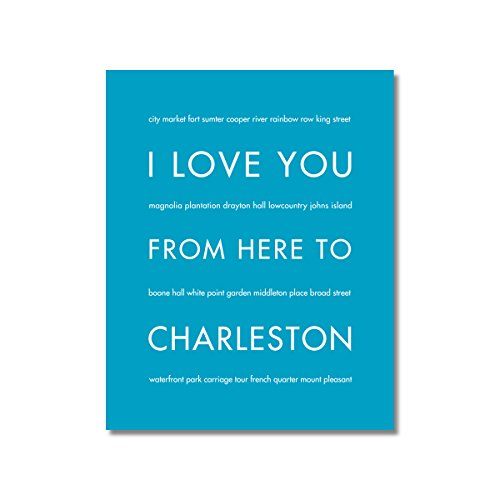 Charleston South Carolina Stretched Canvas in Aqua, Size - Street Carolina South Charleston King