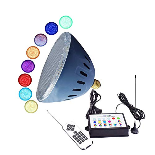 LAMPAOUS LED Pool Lights Kit RGB Multi Color with Remote Control and Signal Amplifier,100% Underwater Controllable and Synchronous, 7 Solid Color and 7 Color Show, Speed Adjustable, 120VAC Input