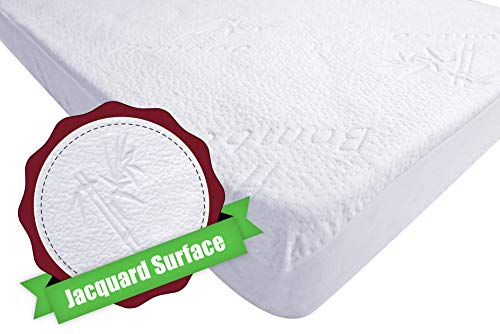 iLuvBamboo Mini Portable Crib Mattress Protector - Soft Natural Bamboo Jacquard Fitted Topper - Fits Pack N Play, Playard & Foldable Mattress Pad - Quiet, Breathable & Hypoallergenic Waterproof Cover ()