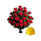 Flower Delivery - 25 RED PREMIUM FRESH ROSES, FREE GIFT MESSAGE by Spring in the Air Luxury Roses.
