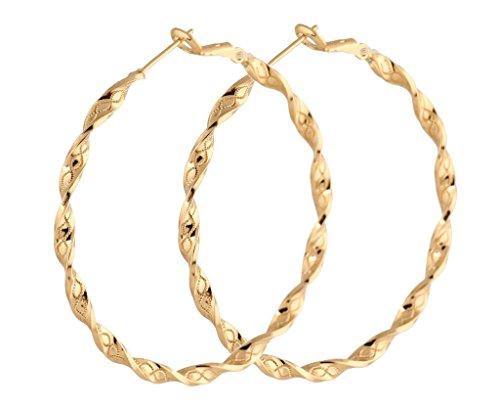 IPINK Hot Selling Simple Big Loop Gold Plated Hoop Earrings Jewelry