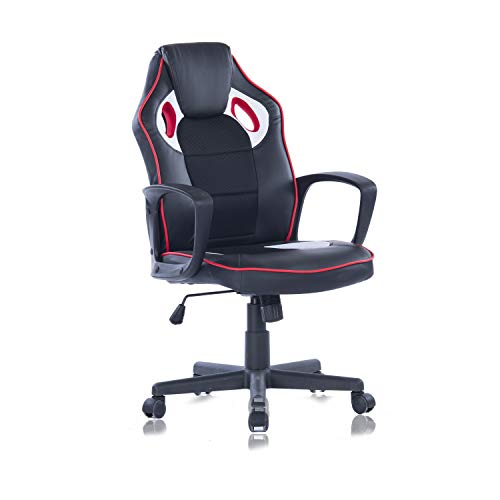 Racing Style Gaming Chair Executive Office Chair Ergonomic PU Leather Computer Desk Chair Mesh Bucket Seat and Lumbar Support (Black)