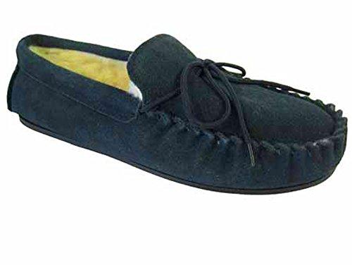 Lodgemok 001 Herren Veloursleder Wolle Gefüttert Mokassin Pantoffeln Blau Marine - Wolle Wildleder Mokassin