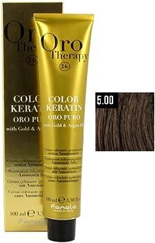 Fanola Crema colorante sin amoniaco Oro Therapy 24K KERATIN Color 5.00 Castaño claro natural intenso 100 mL - Color permanente tinte