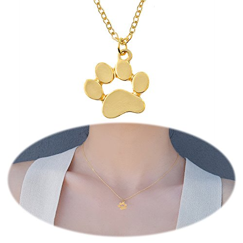 Cat Paw Necklace Dog Paw Print Pendants Dangle Simple Minimalist Choker Collarbone Chain Charms Jewelry One Paw Golden Plated