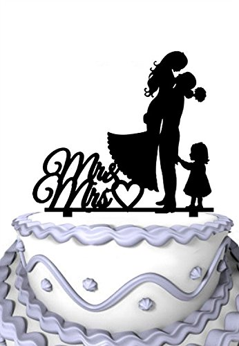 Heart Cakes (Meijiafei Bride and Groom with Little Girl Mrs & Mr Heart Cake Topper Silhouette)