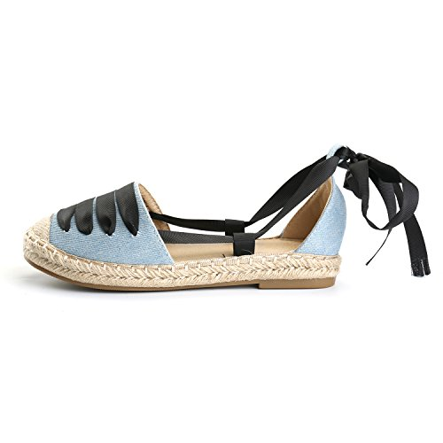 Alexis Leroy Striped Lace up Espadrilles Shoes Women's Platform Gladiator Sandals Light Blue Tdehleqh